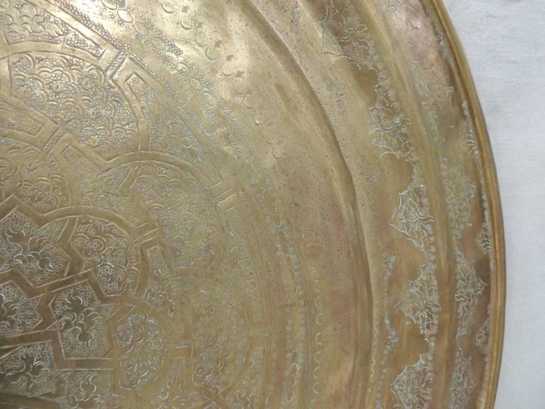 Large Vintage Brass Persian Round Tray At 1stdibs