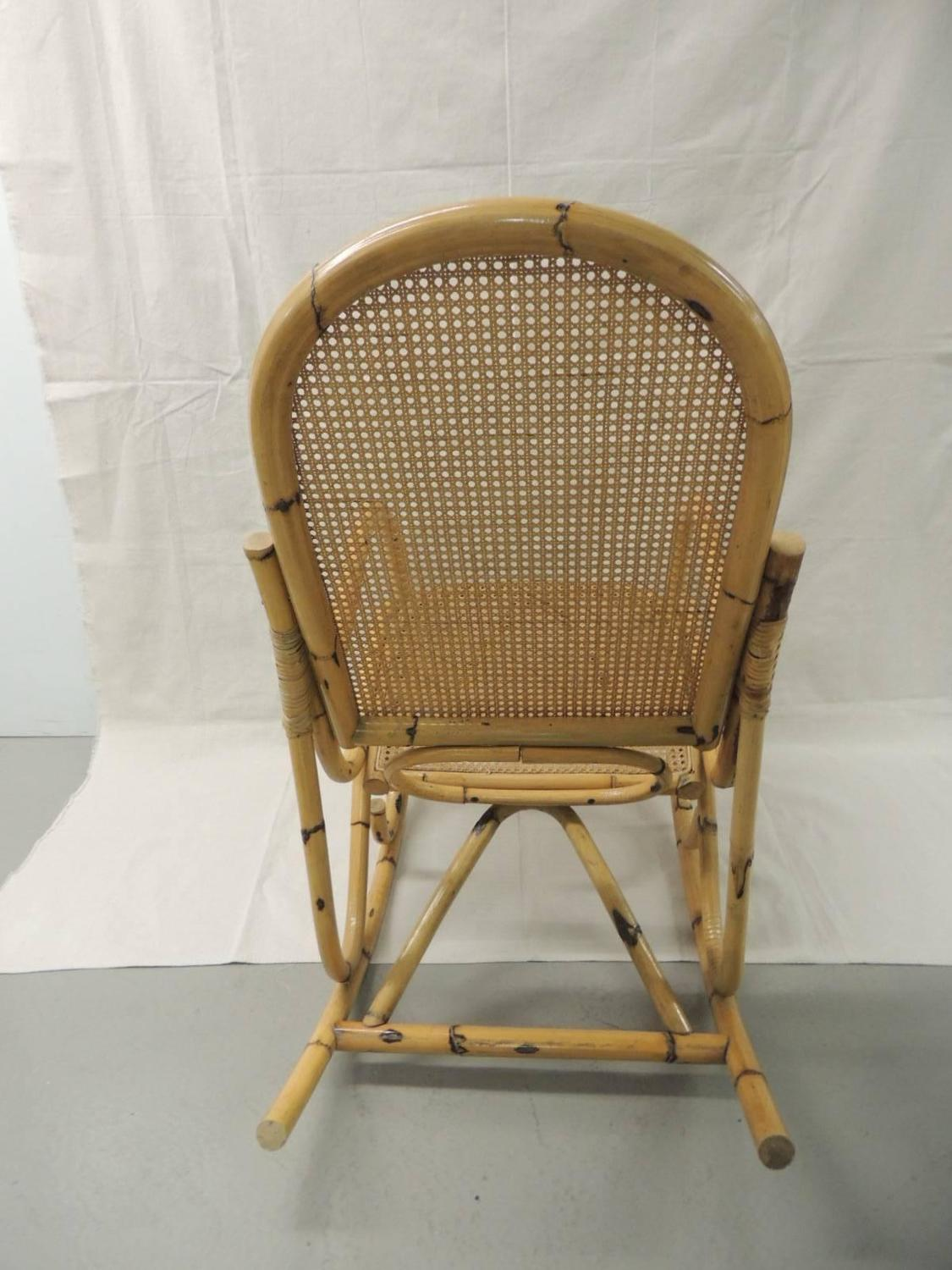 Vintage Bamboo and Wicker Armed Rocking Chair For Sale at 1stdibs