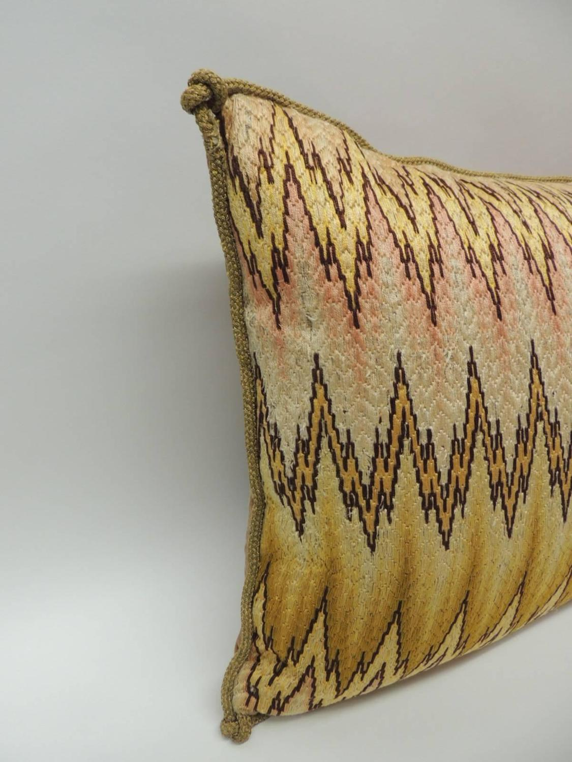 Large Decorative Bolster Pillows : 19th Century Large Italian Bargello Embroidery Bolster Decorative Pillow For Sale at 1stdibs