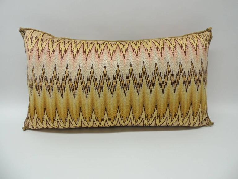 19th Century Italian Bargello Embroidery Bolster Decorative Pillow For Sale at 1stdibs