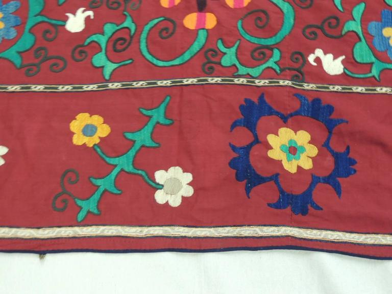 Hand-Crafted Vintage Large Red and Orange Floral Suzani Textile Panel For Sale
