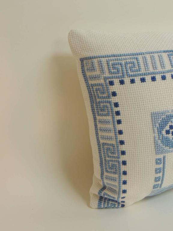 Blue and White Antique Woven Greek Isle Decorative Bolster Pillow For Sale at 1stdibs