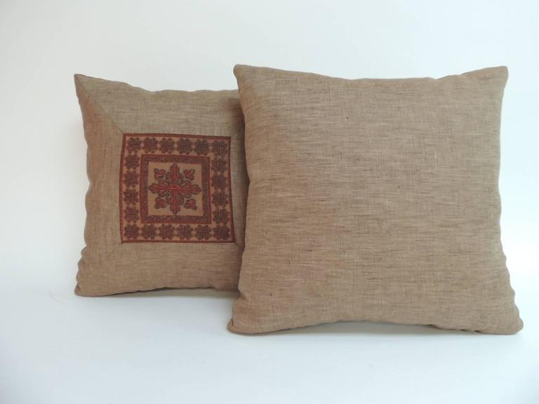 Tribal Pair of 19th Century Embroidered Persian Decorative Pillows For Sale