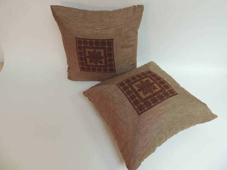 Hand-Crafted Pair of 19th Century Embroidered Persian Decorative Pillows For Sale