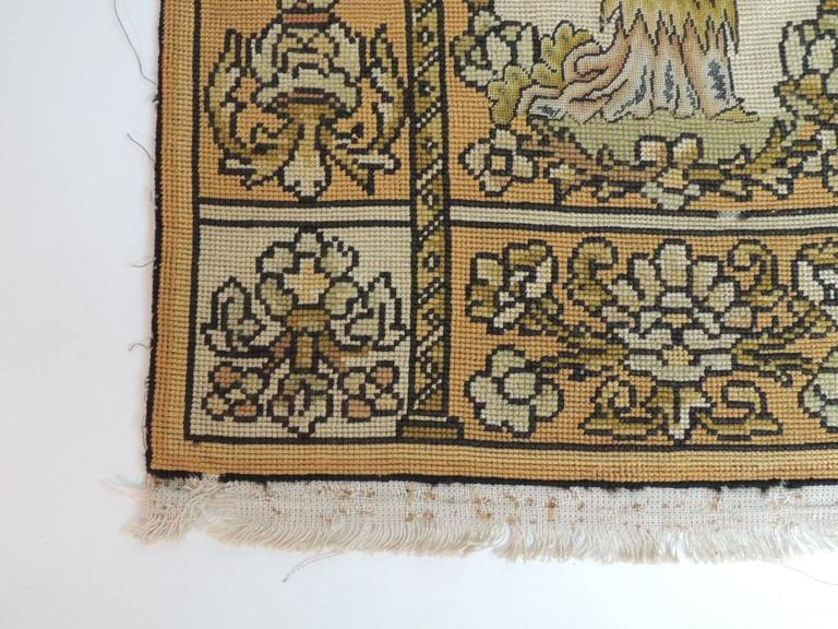 Jacobean 19th Century Medieval Theme Yellow and Gold Tapestry For Sale