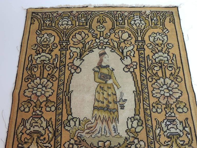 English 19th Century Medieval Theme Yellow and Gold Tapestry For Sale