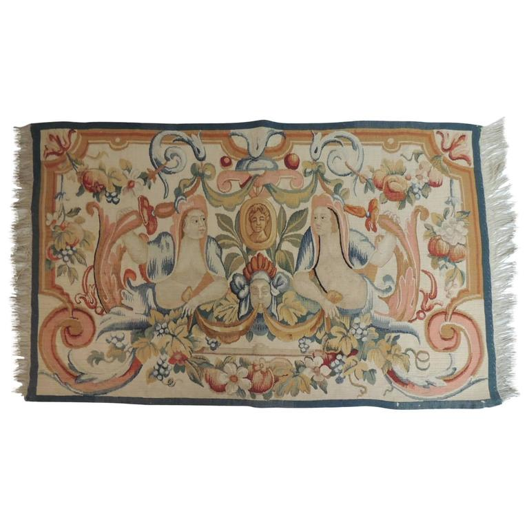 Late 19th Century Colorful Aubusson Tapestry