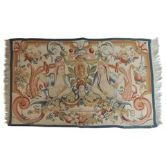 Colorful Aubusson Tapestry with Fringes