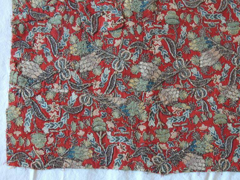 Turkish 18th Century Red Persian Embroidery Textile Panel For Sale
