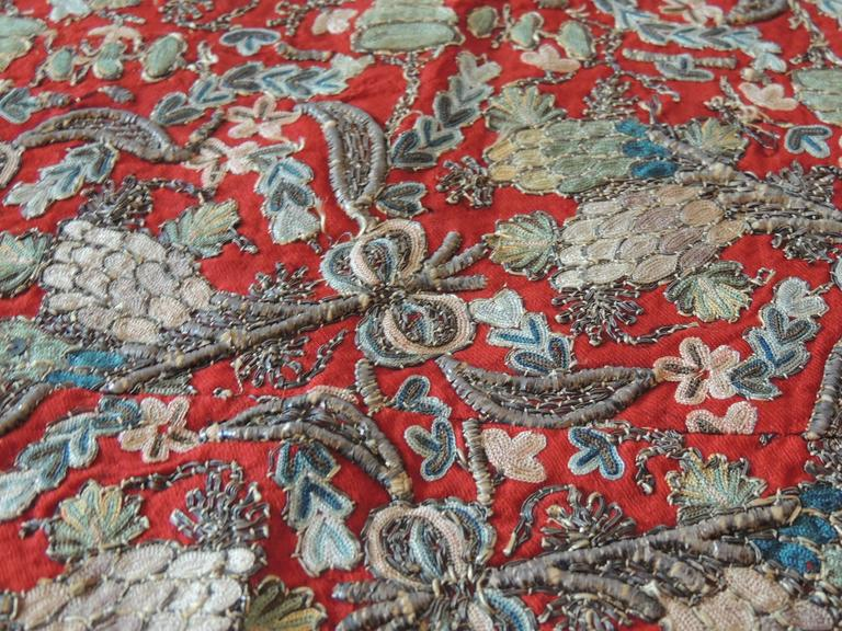 Hand-Crafted 18th Century Red Persian Embroidery Textile Panel For Sale