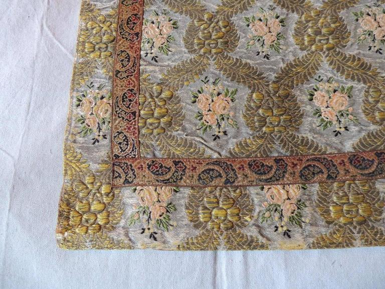 Baroque Large Antique Green and Gold French Embroidery Silk and Metallic Threads Cloth For Sale