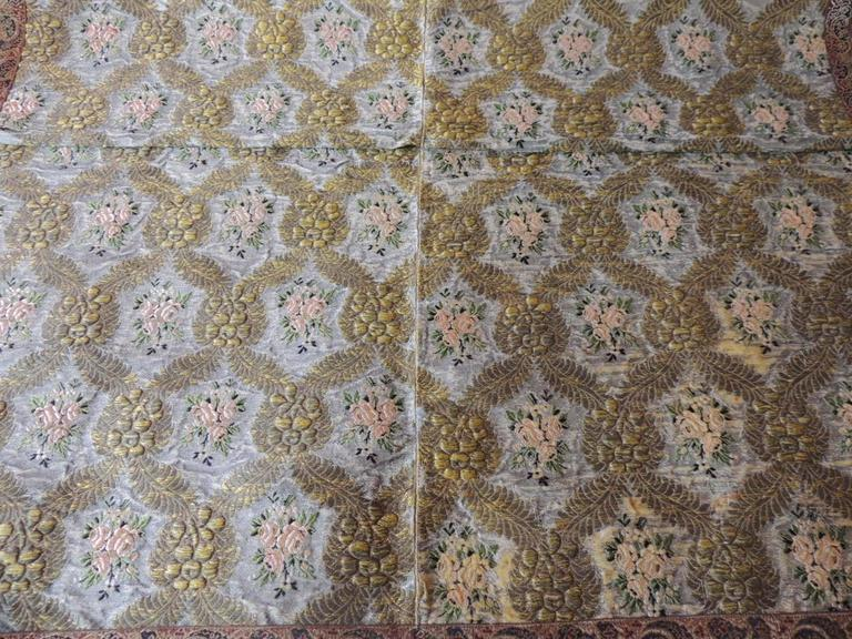 Large Antique Green and Gold French Embroidery Silk and Metallic Threads Cloth In Good Condition For Sale In Oakland Park, FL