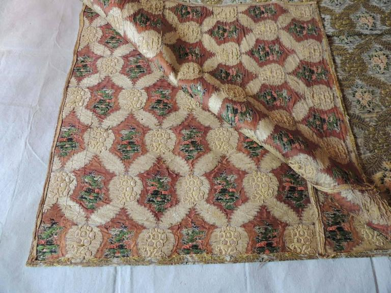 Large Antique Green and Gold French Embroidery Silk and Metallic Threads Cloth For Sale 1