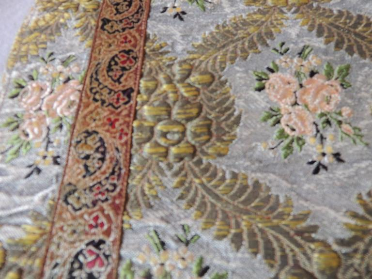 18th Century and Earlier Large Antique Green and Gold French Embroidery Silk and Metallic Threads Cloth For Sale