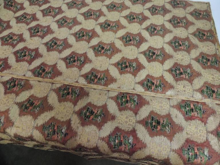 Large Antique Green and Gold French Embroidery Silk and Metallic Threads Cloth For Sale 2