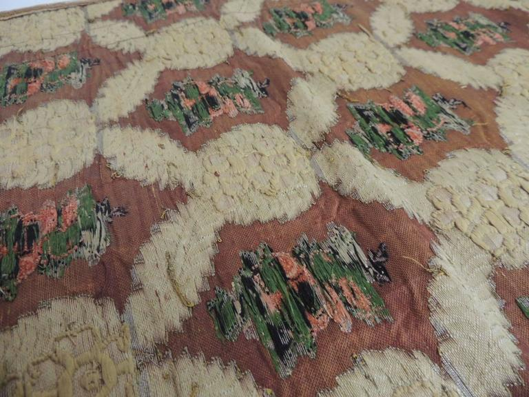 Large Antique Green and Gold French Embroidery Silk and Metallic Threads Cloth For Sale 3