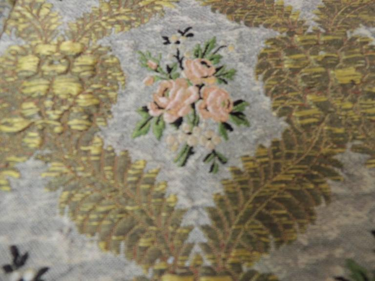 Large Antique Green and Gold French Embroidery Silk and Metallic Threads Cloth For Sale 4