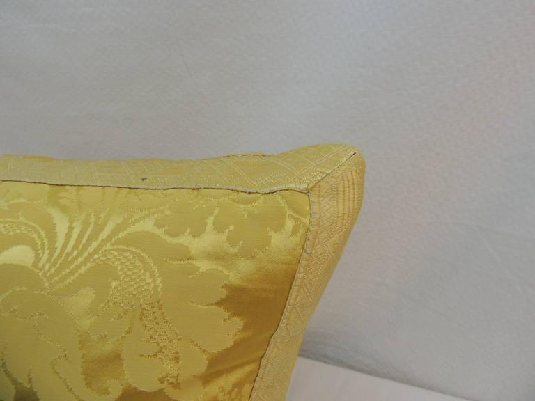 Yellow Silk Decorative Pillows : Antique French Yellow Silk Brocade Textile Decorative Pillow For Sale at 1stdibs