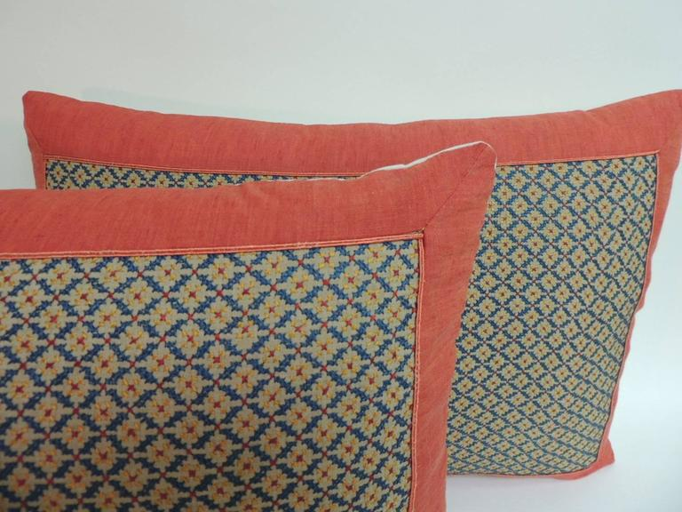 Anglo Raj Pair of 19th Century Embroidered Persian Decorative Pillows For Sale