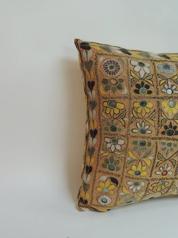 Large Yellow Indian Chakla Embroidery Decorative Pillow at 1stdibs