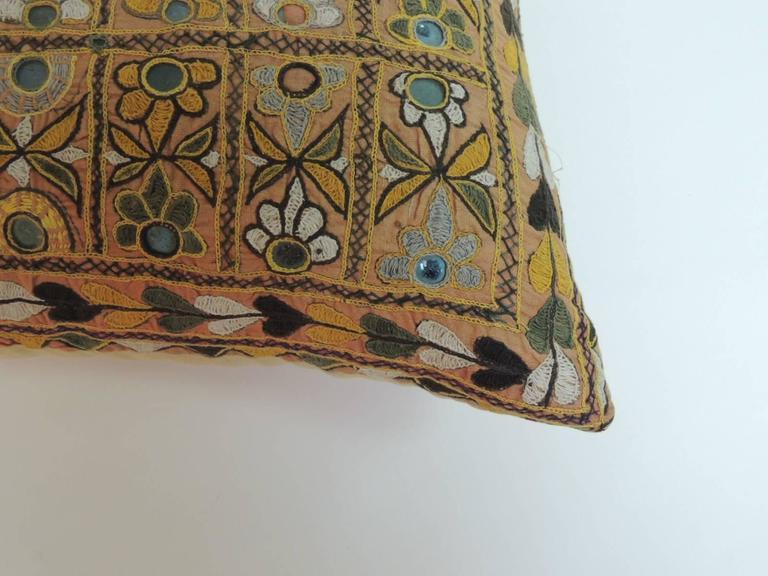 Big Yellow Decorative Pillows : Large Yellow Indian Chakla Embroidery Decorative Pillow at 1stdibs