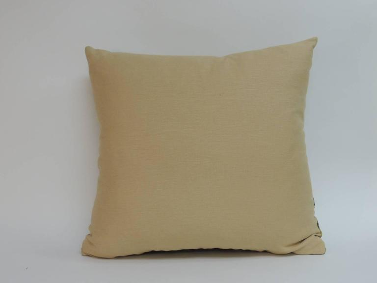 Large Yellow Throw Pillow : Large Yellow Indian Chakla Embroidery Decorative Pillow at 1stdibs