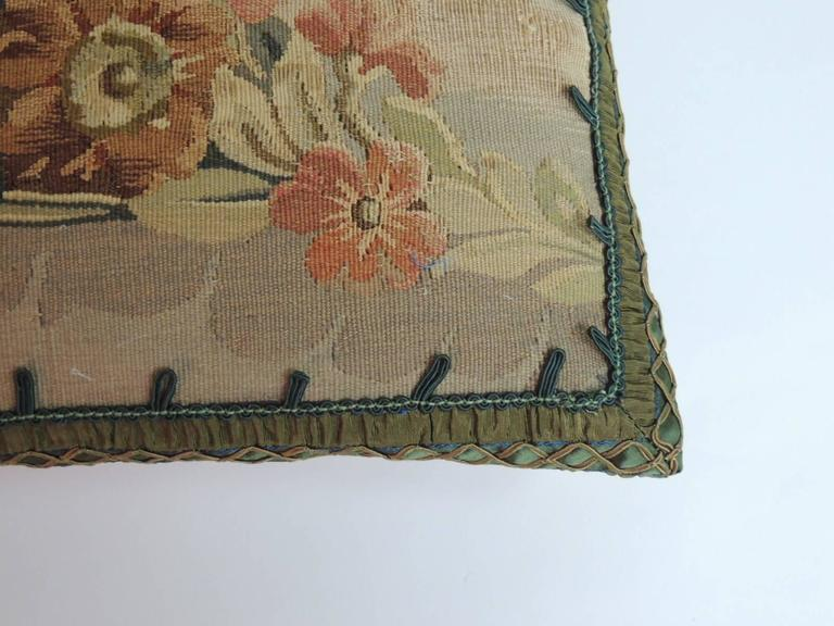 Baroque 19th Century French Petite Aubusson Tapestry Decorative Pillow For Sale
