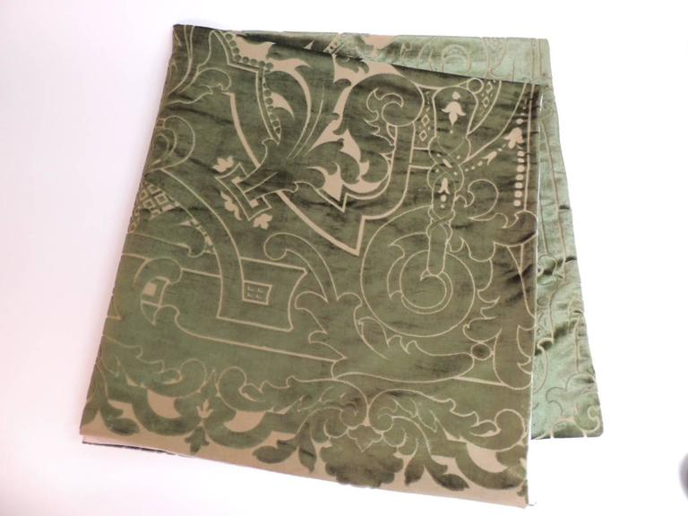 """19th century silk velvet Gaufrage green throw. This one of the kind antique textile is handcrafted out of a larger French """"Portier"""" panel. The large-scale flowers, acanthus leaves and undulating vines are woven exquisitely intertwined to create this"""