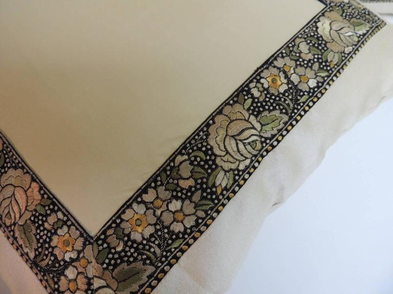 Pair of asian embroidery silk ribbon decorative pillows