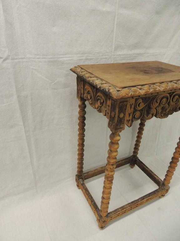 Carved French Country Rustic Wood Side Table At 1stdibs