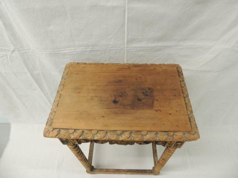 French Provincial Carved French Country Rustic Wood Side Table For Sale