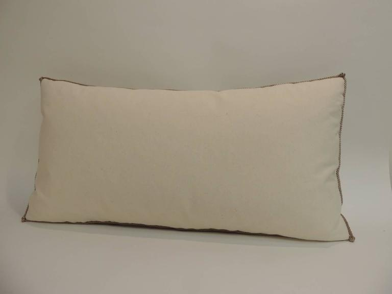 Hand-Crafted Vintage Tan and Green Crewel Work Floral Decorative Bolster Pillow For Sale
