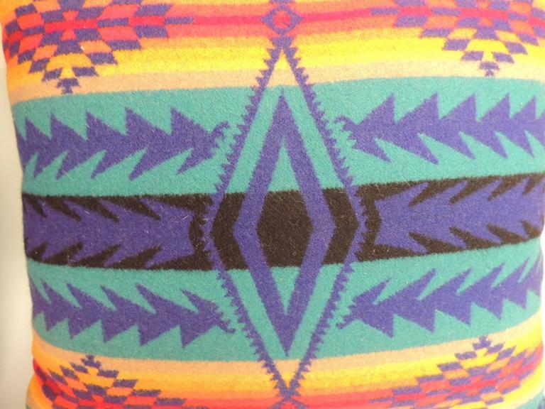 Navajo Pair of Vintage Blue and Orange Pendleton Large Decorative Pillows For Sale