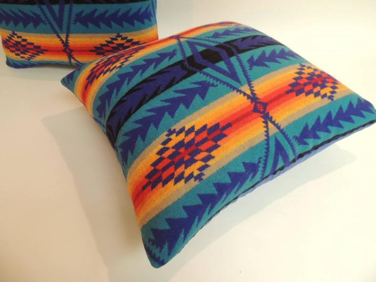 American Pair of Vintage Blue and Orange Pendleton Large Decorative Pillows For Sale