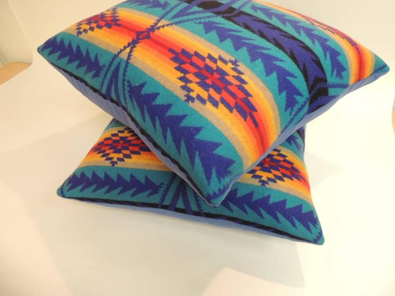 Pair of Vintage Blue and Orange Pendleton Large Decorative Pillows In Good Condition For Sale In Oakland Park, FL