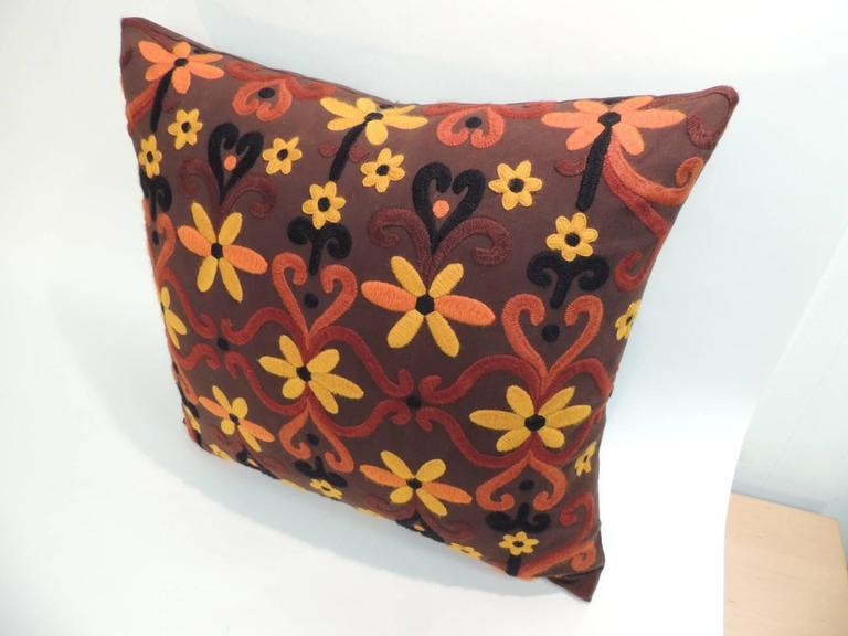 Pair of Large Orange and Brown Embroidered Floor Decorative Pillows at 1stdibs
