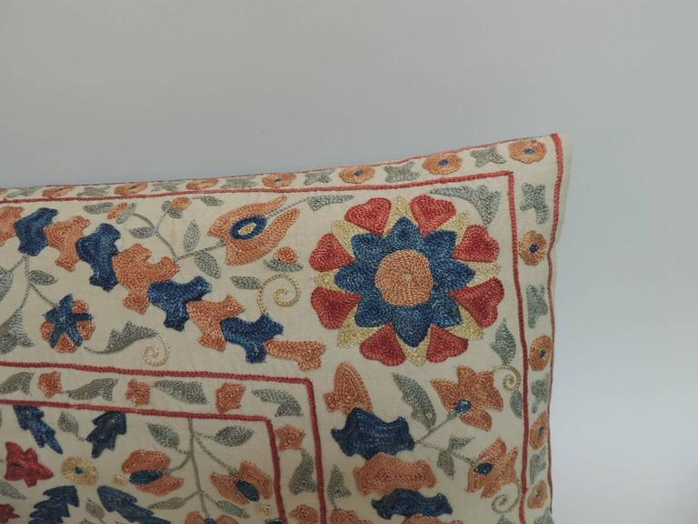 Vintage Embroidery Long Floral Suzani Bolster Decorative Pillow For Sale at 1stdibs