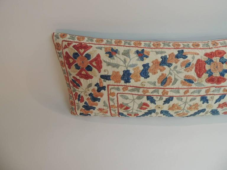 Decorative Pillows Long : Vintage Embroidery Long Floral Suzani Bolster Decorative Pillow For Sale at 1stdibs