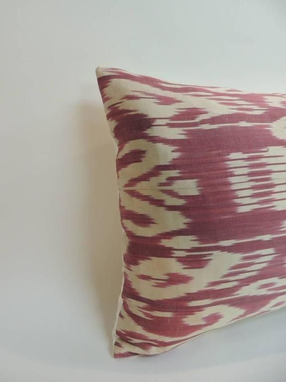 Vintage Fuschia and Natural Silk Ikat Bolster Decorative Pillow For Sale at 1stdibs