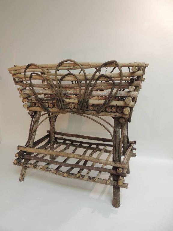 Offered By The Antique Textiles Galleries: Vintage Willow And Wicker Large  Plant Stand Willow And