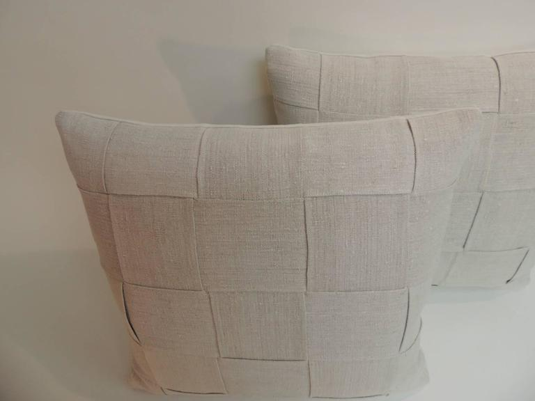 Pair of 19th Century Homespun French Antique Linen Pillows In Good Condition For Sale In Fort Lauderdale, FL