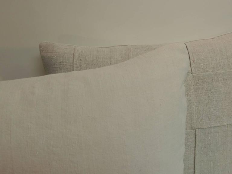 Pair of 19th Century Homespun French Antique Linen Pillows For Sale 1