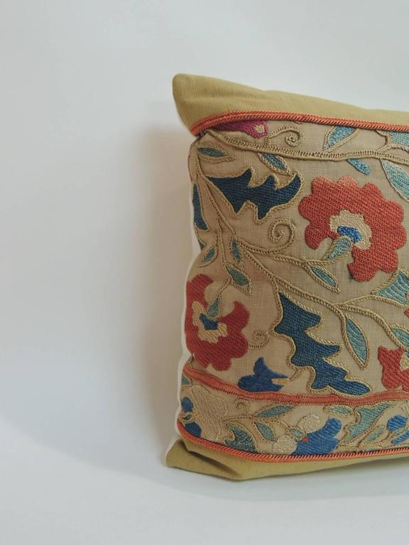 Decorative Orange Lumbar Pillow : Antique Orange and Blue Embroidery Floral Suzani Decorative Lumbar Pillow For Sale at 1stdibs