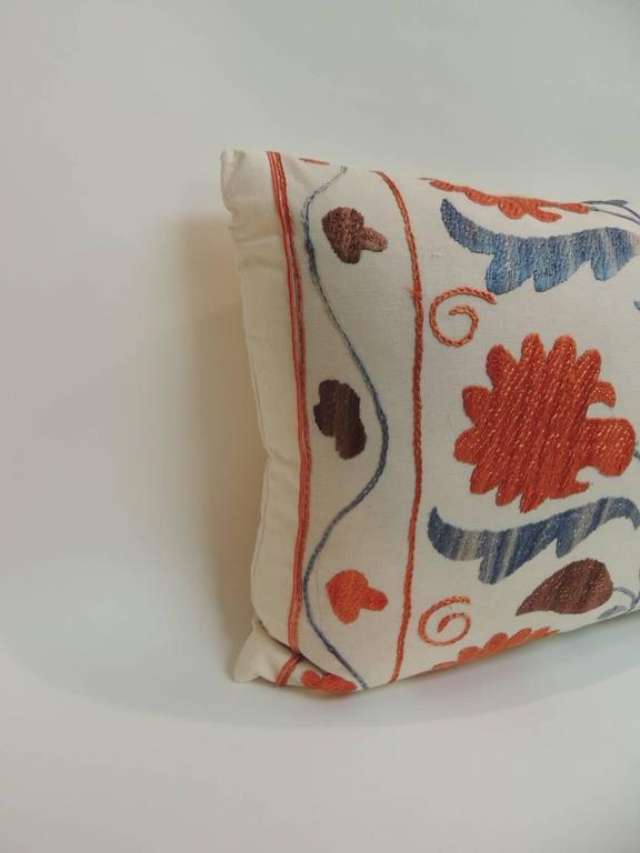 Vintage Orange Embroidery Floral Suzani Decorative Lumbar Pillow at 1stdibs