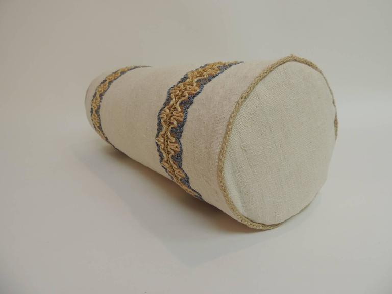 Decorative Pillows Round : Antique Linen Round Bolster Decorative Pillow with Vintage Jute Trims For Sale at 1stdibs