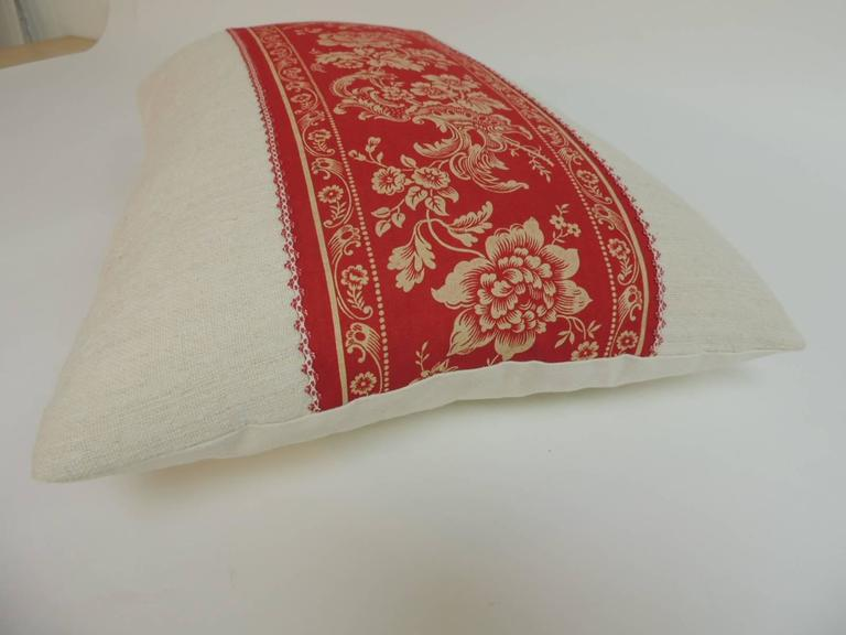 Antique French Provincial Floral Decorative Linen Lumbar Pillow For Sale at 1stdibs