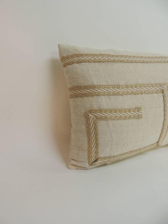 Vintage Linen Bolster Decorative Pillows with Vintage Jute Trims For Sale at 1stdibs