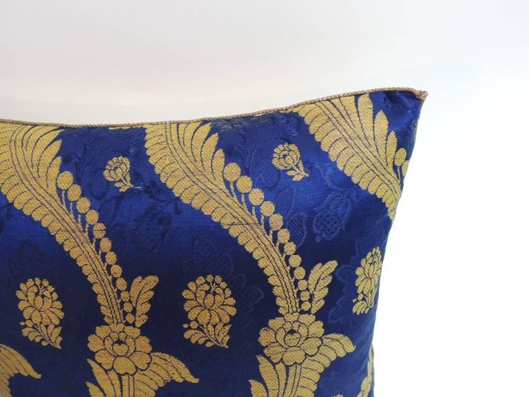 Regency 19th Century French Silk Brocade Royal Blue Square Decorative Pillow For Sale