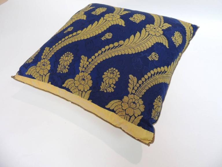 Hand-Crafted 19th Century French Silk Brocade Royal Blue Square Decorative Pillow For Sale