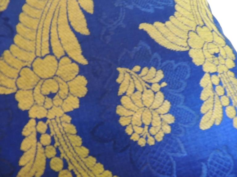 19th Century French Silk Brocade Royal Blue Square Decorative Pillow In Excellent Condition For Sale In Oakland Park, FL